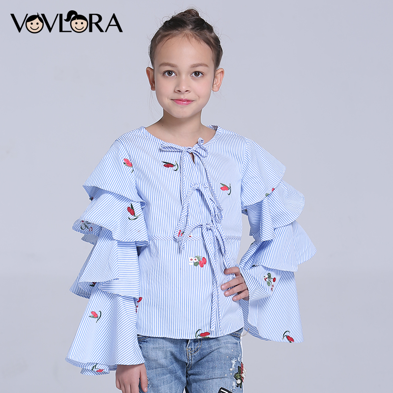 Children Blouses O-neck Woven Striped Gilrs Blouse Shirt Long Sleeve Floral Kids Clothes Spring 2018 Size 7 8 9 10 11 12 Years trendy v neck long sleeve floral print see through blouse for women