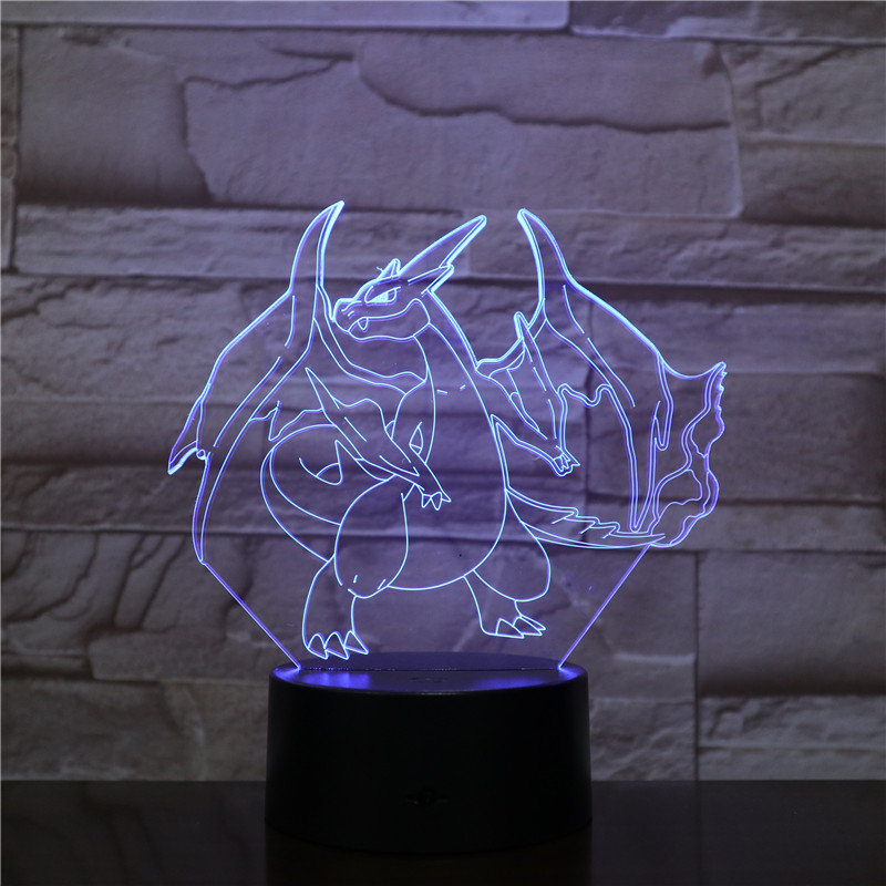 2019 Novelty Cartoon Pokemon Charizard 3D Lamp USB Night Light Multicolor LED RGB Lighting Bulb Luminaria Kid Toy Gift 2481