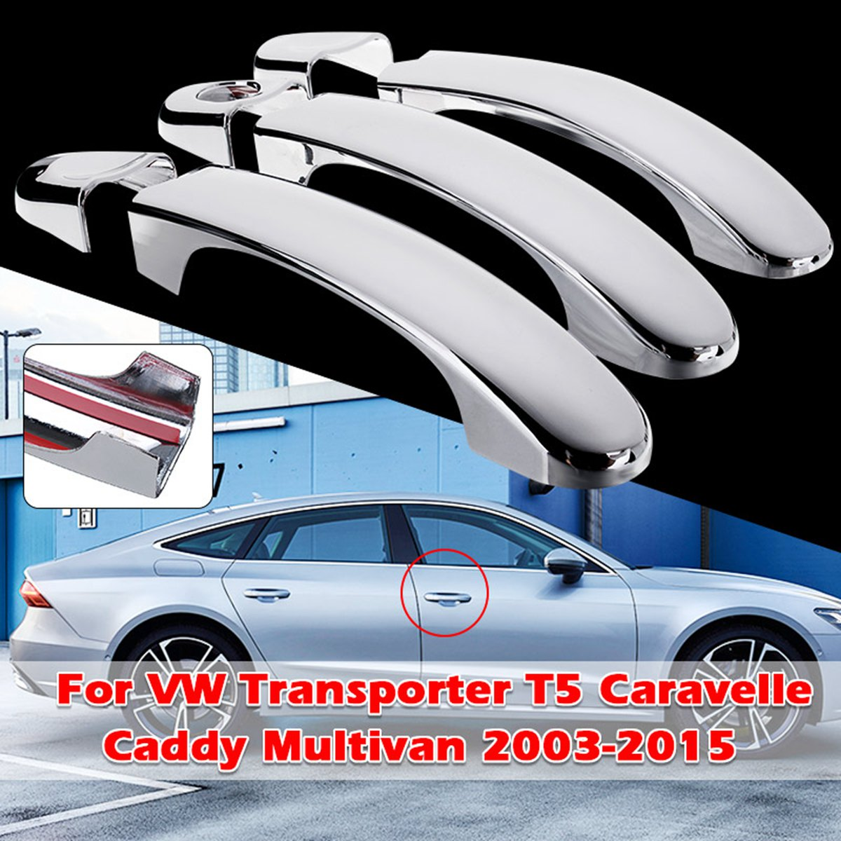 6x Chrome 3 Door Handle Cover Trim Set For VW Transporter T5 Caravelle Caddy Multivan 03-09