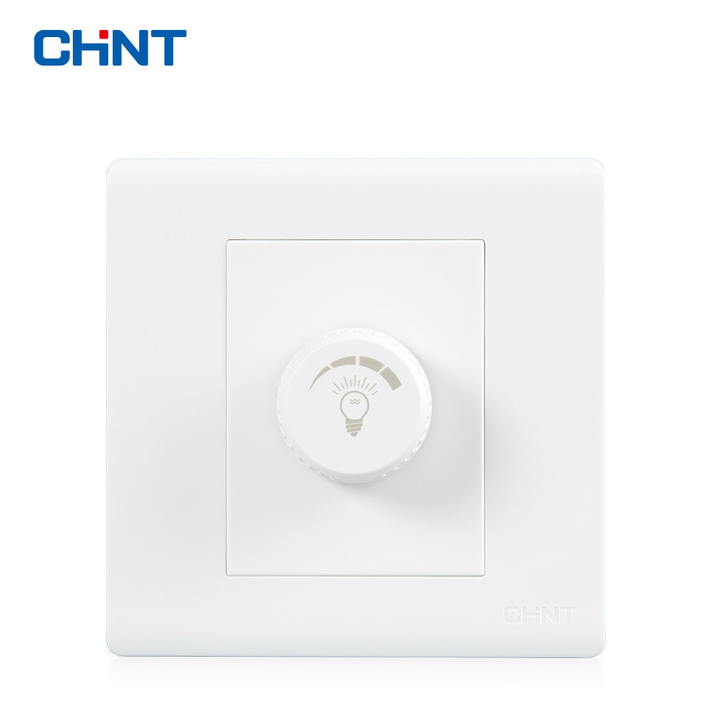 CHNT NEW7D 86 Type Wall Switch White Socket Panel Dimming Knob Light Switches
