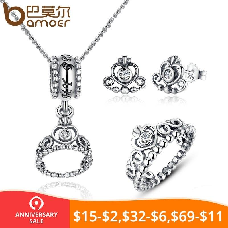 3cf384985dca BAMOER conjunto de joyería de plata de ley 925 de mi princesa corona de la  Reina