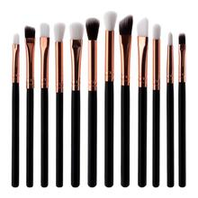 12pcs Woman Make Up Brushes Flat Eyeshadow Lip Makeup Kit Eyebrow Brush Cosmetic Tool Set