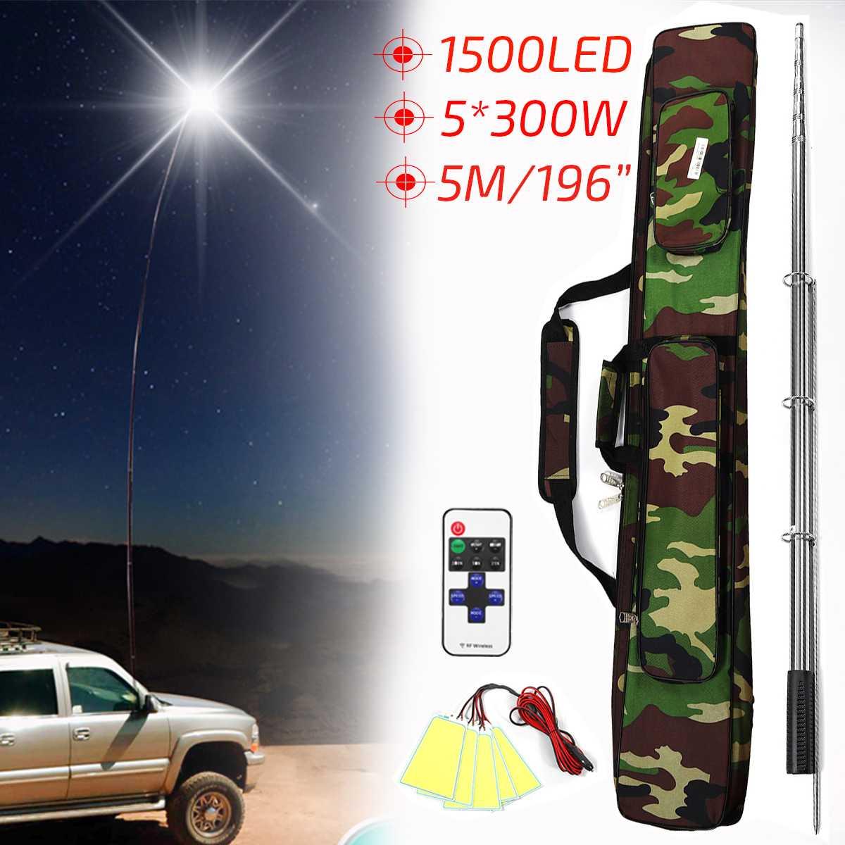 5 M 12 V 1500 W télescopique LED canne à pêche lanterne lampe de Camping en plein air lumière blanche avec télécommande et sac