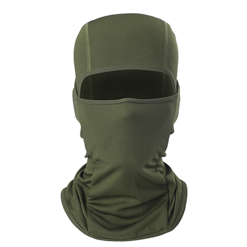 1pc Army Green Motorcycle Mask Full Face And Neck Thin Soft Breathable Mask For Bicycle Cycling Outdoor Sports Balaclava Hood