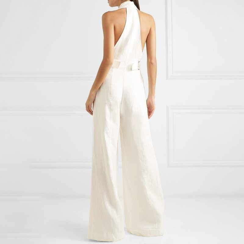 TW0TWINSTYLE однотонный сексуальный комбинезон с открытыми плечами женский Холтер с высокой талией на пуговицах Большие размеры широкие брюки женские весенние модные 2019
