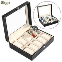 organizer Synthetic Leather Glass Window 10 Slots Watch Storage Display Box Jewelry Case Removable Pillow Home Store and Buckle