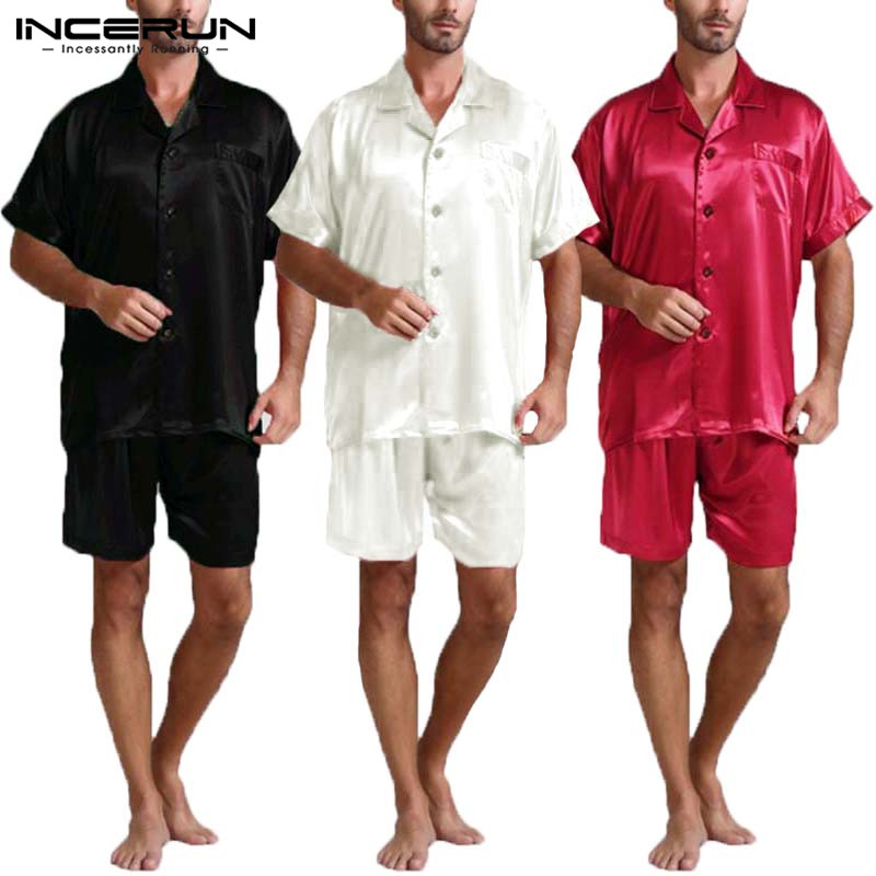 INCERUN Summer Satin Silk Mens Pajamas Set Tee Tops Shorts Rayon Silk Sleepwear Male Pajama Set Soft Nightwear Pyjamas Masculina