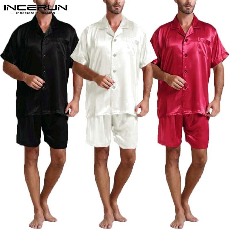 INCERUN Summer Satin Silk Mens Pajamas Set Tee Tops Shorts Rayon Silk Sleepwear Male Pajama Set Soft Nightwear Pyjamas Masculina