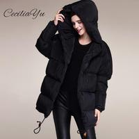 Ceciliayu 2018 New White Feather Down Jacket Women's Winter Clother Thickening Light Double Breasted Medium Down Long Coat