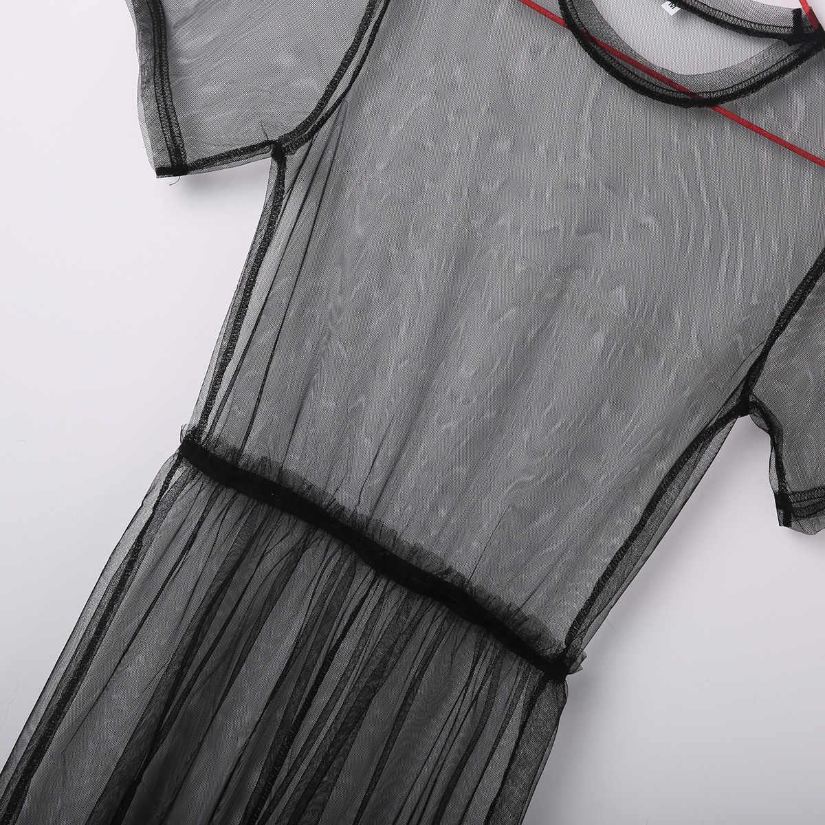 2019 נשים סקסי מוצק שחור רשת דייגים רחצה שחייה ביקיני כיסוי עד פגז צעיף צעיפי רשת בגדי ים בגד ים שמלת וחוף