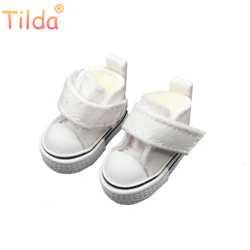 Tilda 3.5cm Mini Doll Shoes For Blythe Doll,Toy Doll 1/6,Canvas Sneakers Shoes For BJD Plush Cotton 15cm EXO Doll 5 Pairs/lot