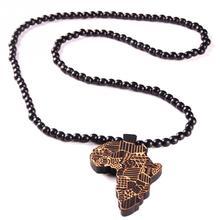 Кулон Карта Африки ожерелье для женщин мужчин ювелирные изделия деревянные карты Африки хип-хоп бисерное ожерелье