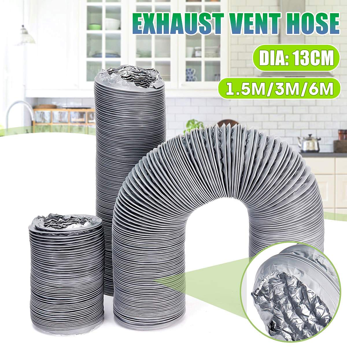 New 5inch 150/300/600cm Flexible Exhaust Vent Tube Hose PVC Aluminum Air Ducting Ventilation Household Air System Vent Bathroom
