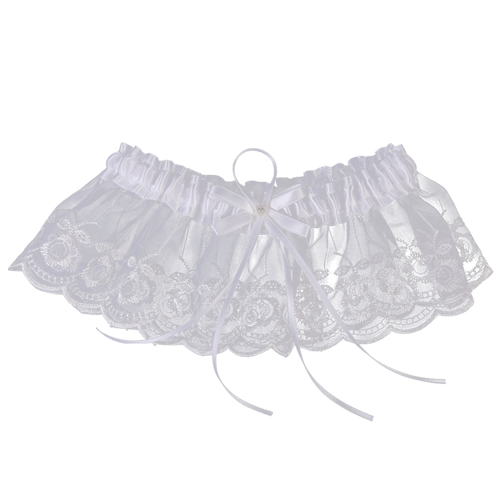 Garter White Embroidery Flower Beading Rhinestone Female Wedding Garters For Bride Rubber Lace Band Bridal Leg Garters Wg009 Garters Underwear & Sleepwears