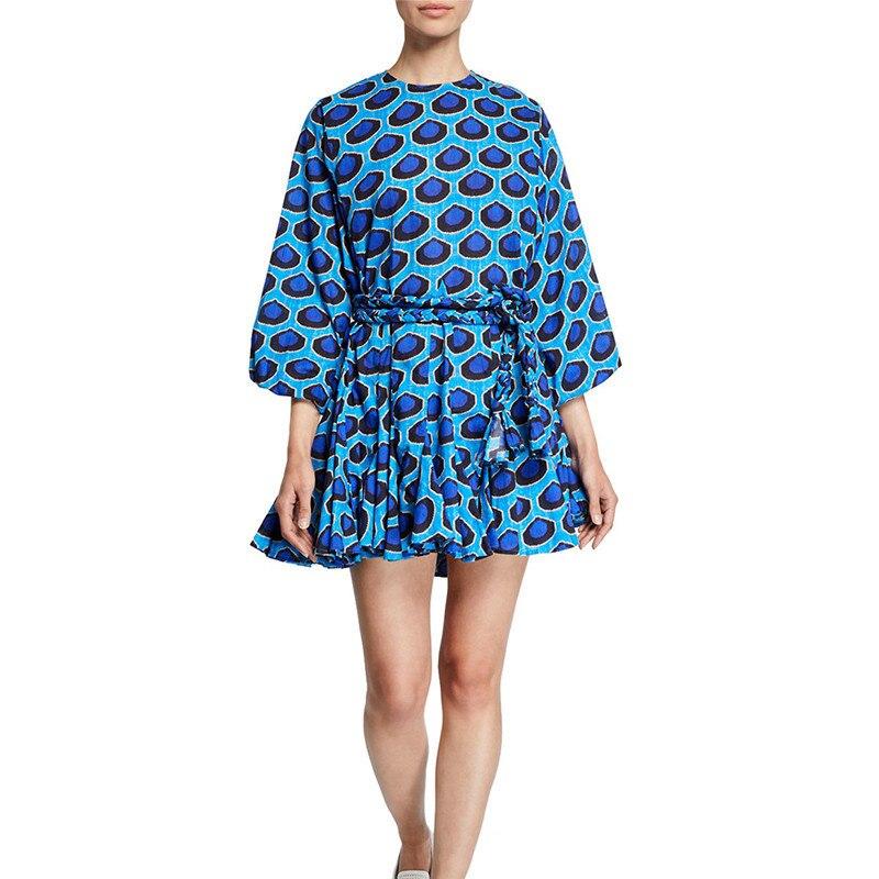Twotwinstyle 캐주얼 프린트 드레스 여성용 o 넥 랜턴 슬리브 레이스 업 pleated dresses 여성 봄 패션 의류 2019 new-에서드레스부터 여성 의류 의  그룹 2