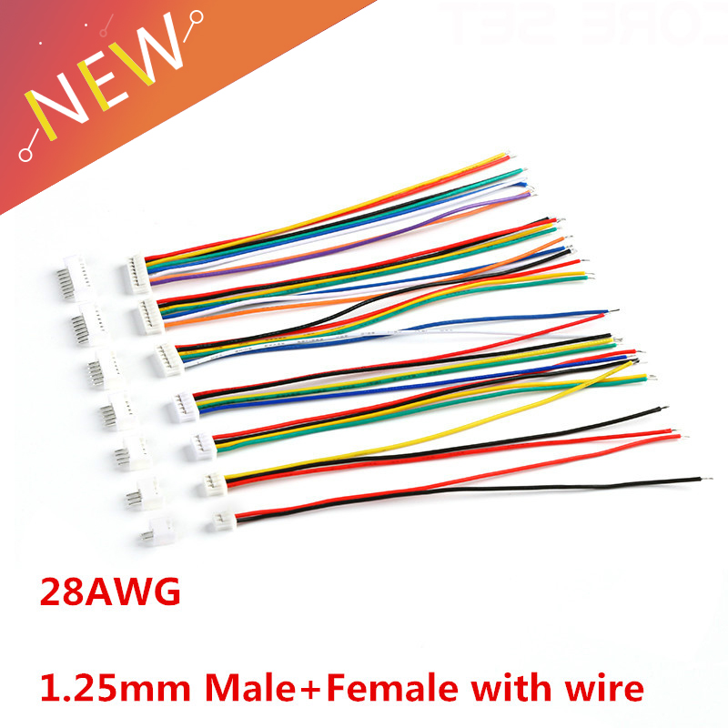 10 Sets Male & Female PCB Connector 1.25 JST 2/3/4/5/6/7/8/9/10 Pin Single Head Plug With 100mm Electronic Wire Connectors