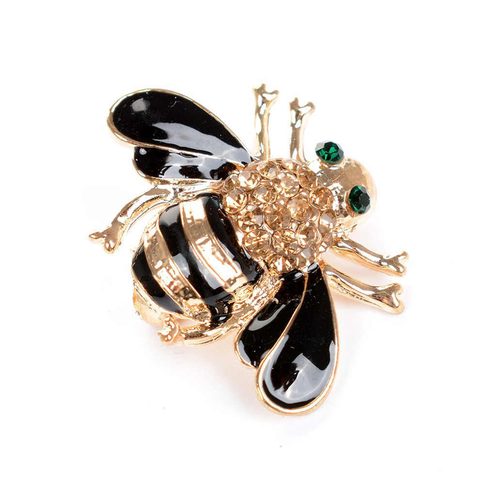 Women Delicate Little Bee Crystal Rhinestone Pin Brooch Gift Black Brooches For Women Christmas Brooch