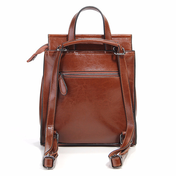 Vintage Wax Oil Genuine Leather  Woman Travel Feminine Fashion Backpack Female For Girls School Women Bagpack #2
