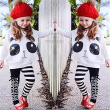 Baby boy clothes suit girl fashion clothing childrens  cotton children panda printed long sleeve tops striped