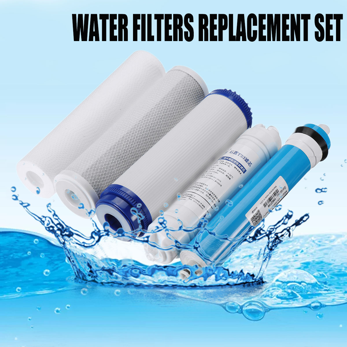 5 Stage RO Reverse Osmosis Filter Replacement Water Purifier Cartridge Equipment With 75/100/125GPD Membrane Water Filter Kit