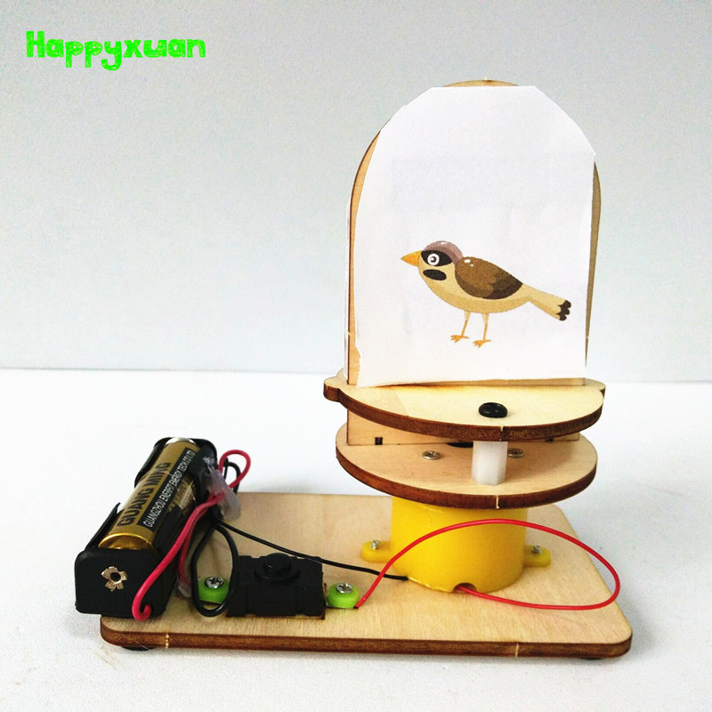 Happyxuan Physical Optics Experiment Set DIY Science Laboratory Kits Kids Cage Bird Persistence Of Vision STEM Educational Toys