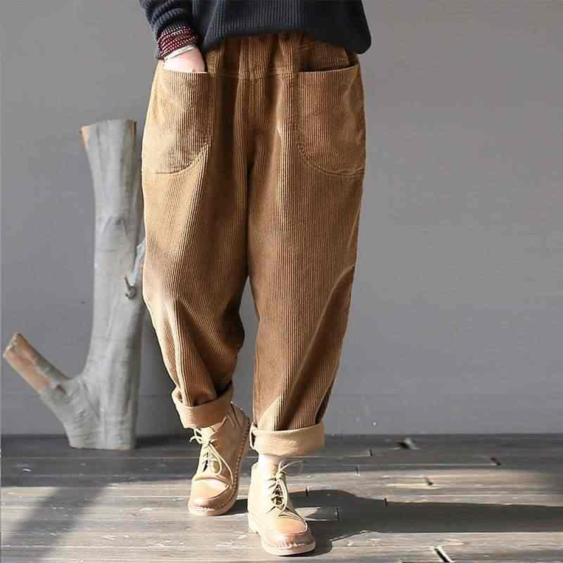 542a31456e3 Vintage Women Corduroy Harem Pants Casual Autumn Elastic Waist Pockets  Solid Loose Pantalon Ladies Work Long