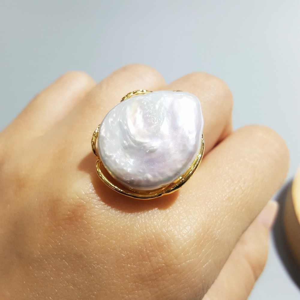 LiiJi Unique Real White Big Baroque Pearl 925 Silver Adjustable Ring
