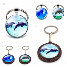 Dolphins Photo Pendant Dolphin Glass Cabochon Keychain Jewelry Animal Keyring Birthday Gift for Women Men