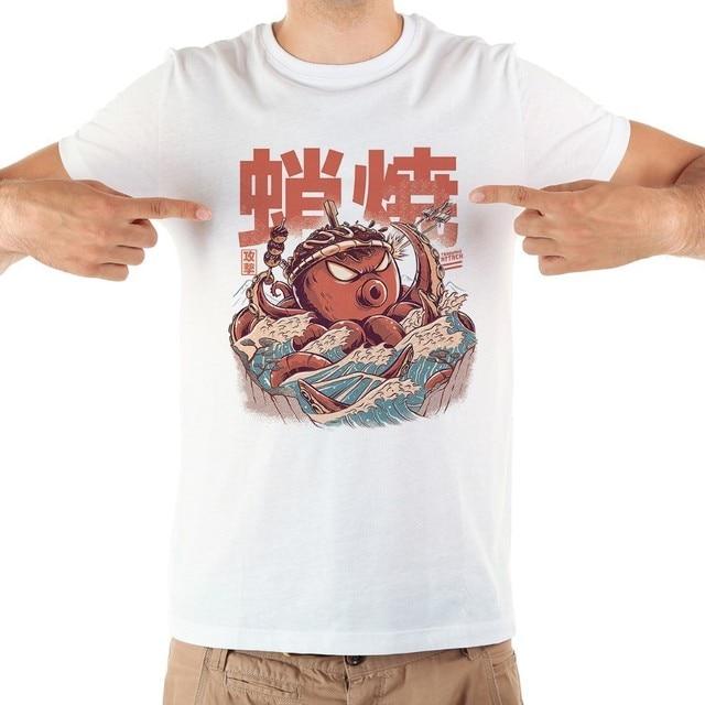 Japan anime TAKOYAKI demon octopus kaiju funny tshirt men 2019 summer new white short sleeve casual homme cool t shirt