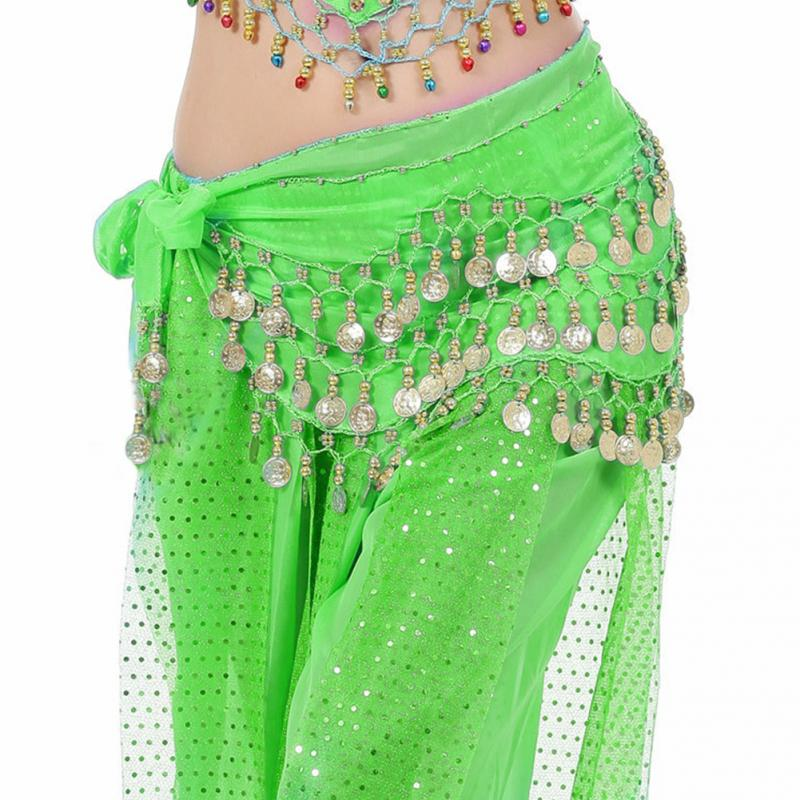 1pc Women Sexy Cute Belly Dance Hip Skirt Chiffon Wrap Scarf Belt With Gold Coins In 3 Rows 13 Colors Dancing Accessories