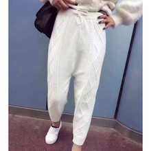 Autumn Winter Rabbit Velvet Women Harem Pants New High Quality Lace-up Knitted Casual Empire Loose Trousers