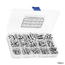 screw set 280pcs Stainless Steel Hex Socket Cap Head Bolts Screw Assortment Kit tornillos cabeza arandela