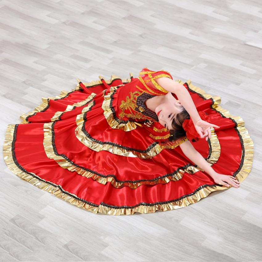 110-160 Cm Spaanse Stierengevecht Festival Jurk Voor Prinses Meisjes Kant Prachtige Gestreepte Stadium Slijtage Buikdans Gypsy Flamenco Jurk