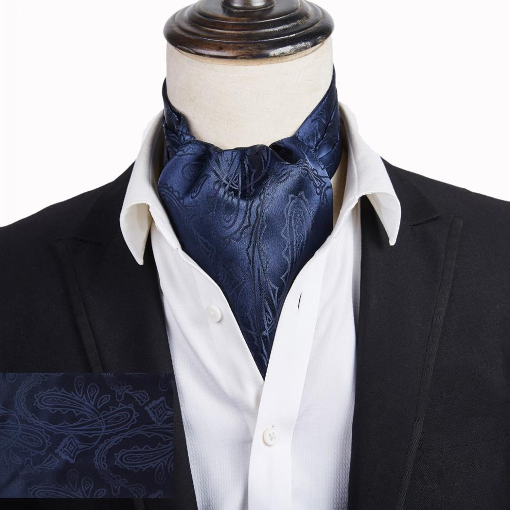 Hight Quantity Men's Vintage Navy Necktie Formal Cravat Ascot Scrunch Self British Dot Gentleman Polyester Silk Neck Tie Luxury