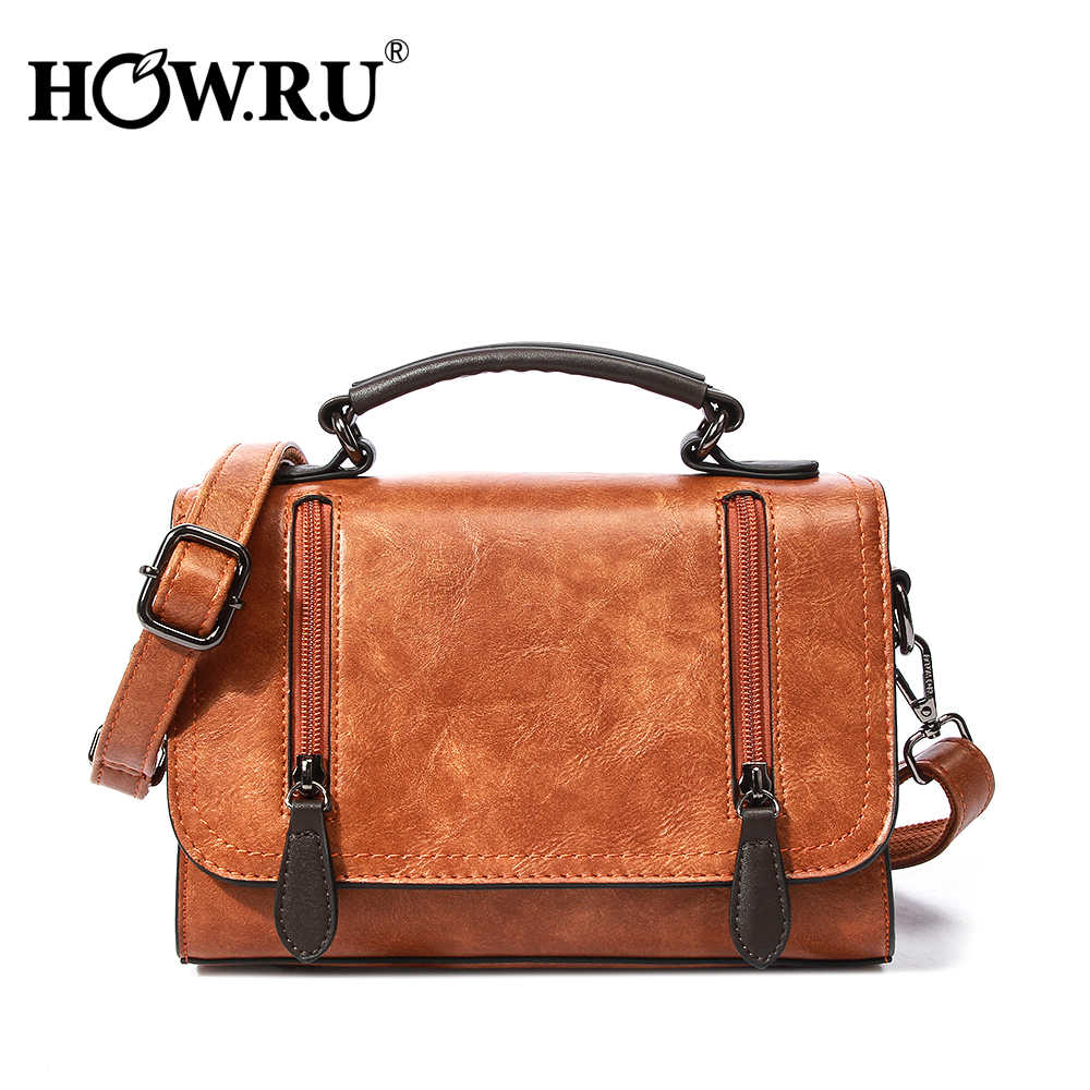 5fddfe9fed769 HOWRU Vintage Brown Women Satchels Female Handbags Casual PU Leather Hand Bag  Women s Messenger Bag 2019