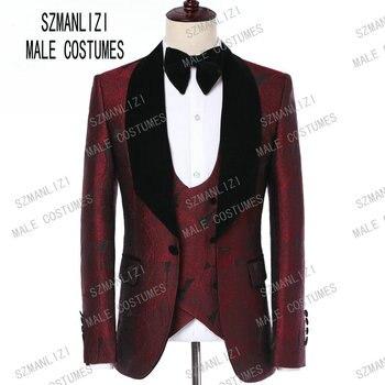 601084caf Traje de hombre 2018 marca famosa trajes para hombre boda novio talla  grande S-5XL 3 unidades (chaqueta + chaleco + pantalón) traje de esmoquin  Casual ...