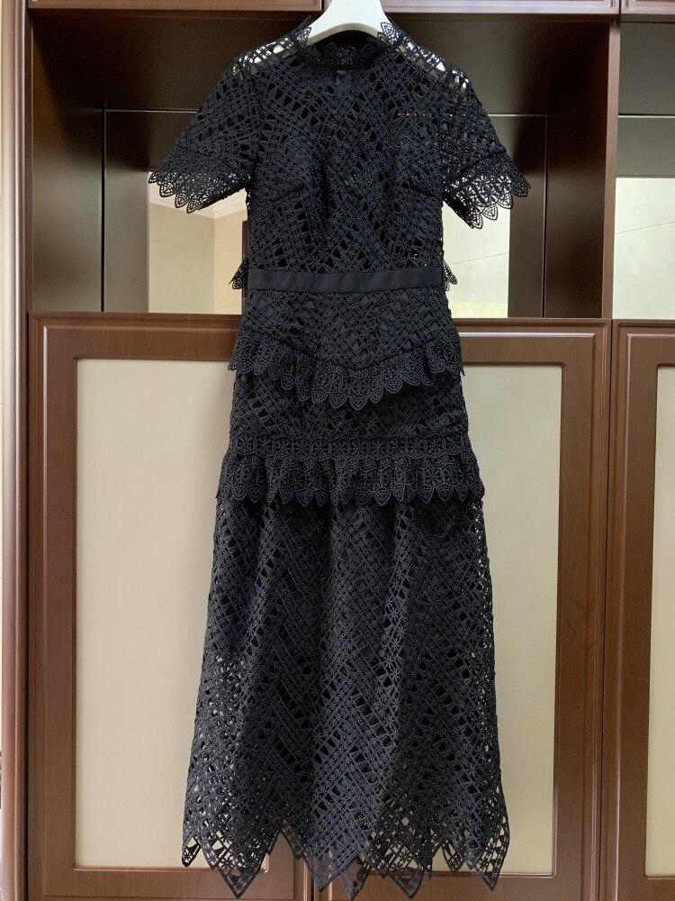 Travers Robe À Fiesta Dames Femmes Manches Black Longue Élégante De O Courtes Long Robes 2019 En Dentelle cou Découpe Parti Voir q8ZBw5