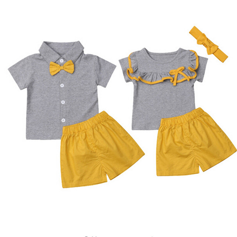 Shorts Set Baby Boy Girl Brother and Sister Matching Fashion Outfits Short Sleeve T-Shirt Tops
