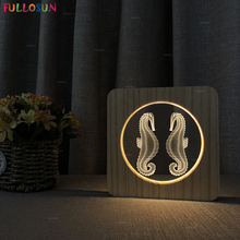 Creative Table Lamp 7 Colors Sea horse 3D Wooden Lamp Switch Button LED Night Light for Holiday Gift цена 2017