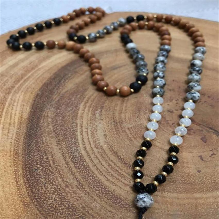 8mm108 Mondstein Onyx Sesam Sandelholz Halskette Glück Segnen Healing Chakas Quaste Buddhismus Phantasie Natürliche Handgelenk Männer Buy One Give One Halsketten & Anhänger