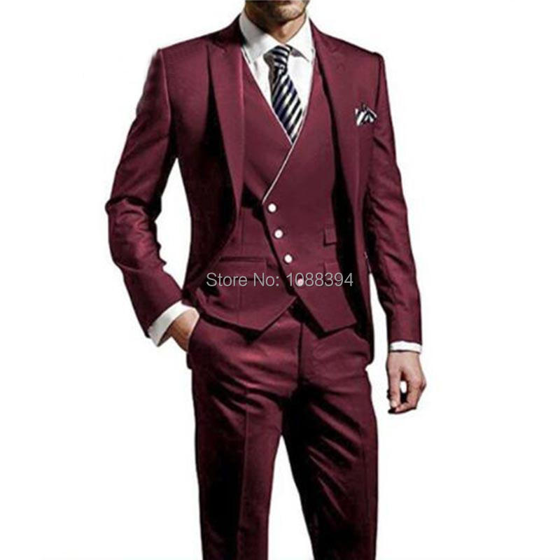 <font><b>Men</b></font> <font><b>Wedding</b></font> <font><b>Suits</b></font> <font><b>2018</b></font> Brand Style Burgundy <font><b>Suit</b></font> <font><b>Men</b></font> <font><b>Terno</b></font> Slim Fit Groom Tuxedo 3 Piece Custom Made Prom Business Formal <font><b>Suit</b></font> image