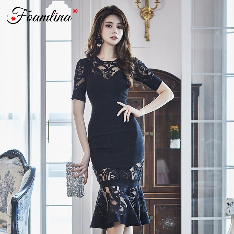 Foamlina Sexy Women Black Lace Bodycon Dress Summer 2019