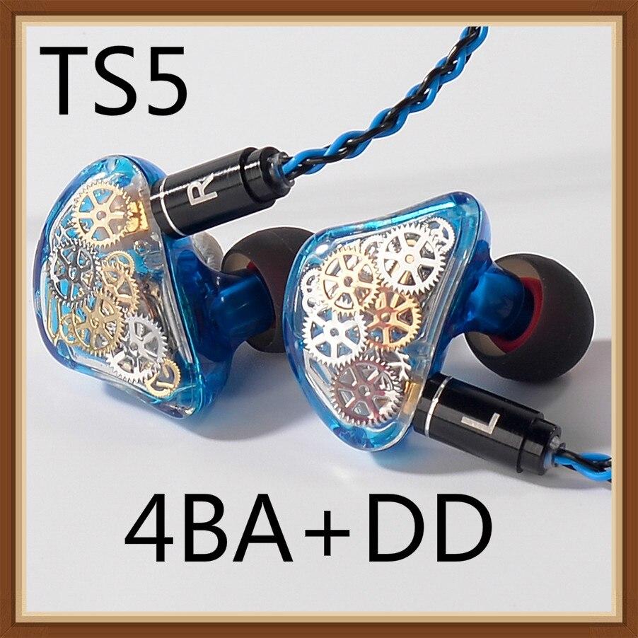 TONEKING TS5 4BA + 1 DD écouteurs faits sur commande dans l'oreille équipement coloré hybride autour de l'oreille Hifi moniteur de musique écouteur avec câble MMCX