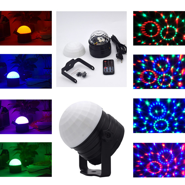 Sound Activated Disco Lights Rotating Ball Lights 9W RGB LED Stage Lights For Christmas Home KTV Xmas Wedding Show Pub