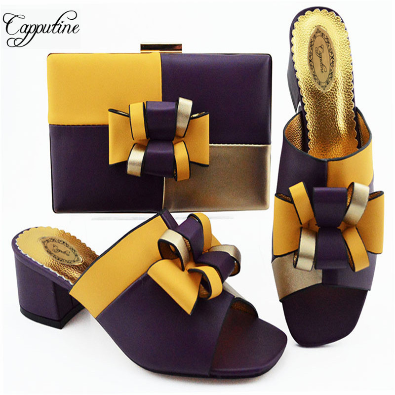 Nigerian Style PU Woman Slipper Shoes With Purse Set Italian Elegant Middle Heels Shoes And Bag