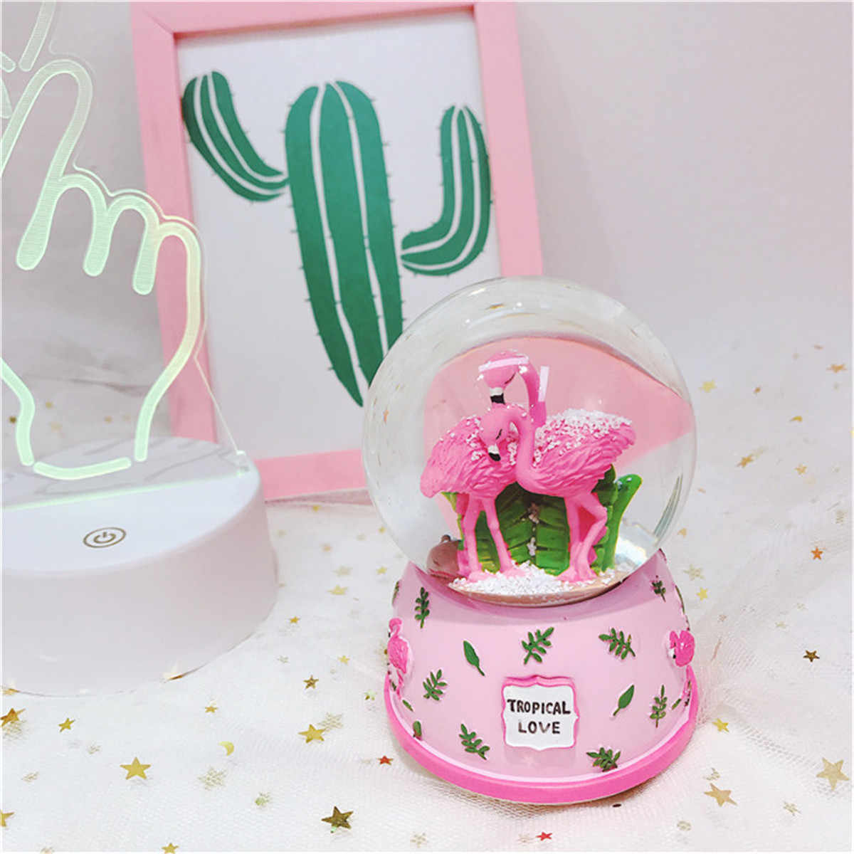 LED Light Electronic Automatic Spray Snowflake Flamingo Musical Water Snow Globe Music Boxes Decor Crafts Valentine's Day Gift