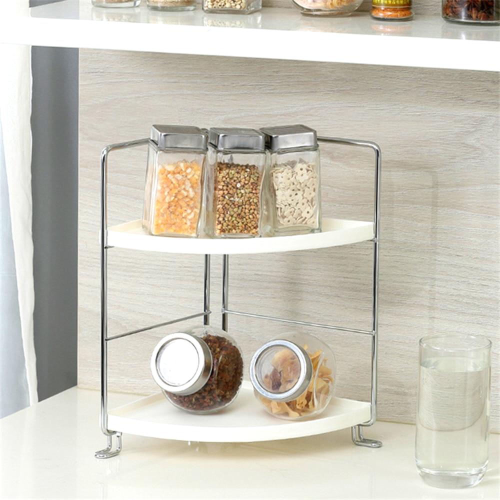 2 tier storage shelf corner freestanding stackable storage