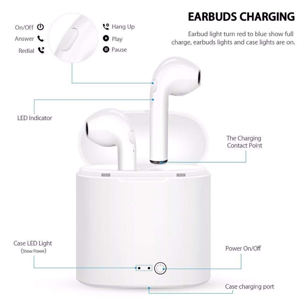 CASEIER I7S Wireless Bluetooth Earphone With Charging Box Case Earbud Music Earphones Auriculares bluetooth inalambrico Headset in Bluetooth Earphones Headphones from Consumer Electronics