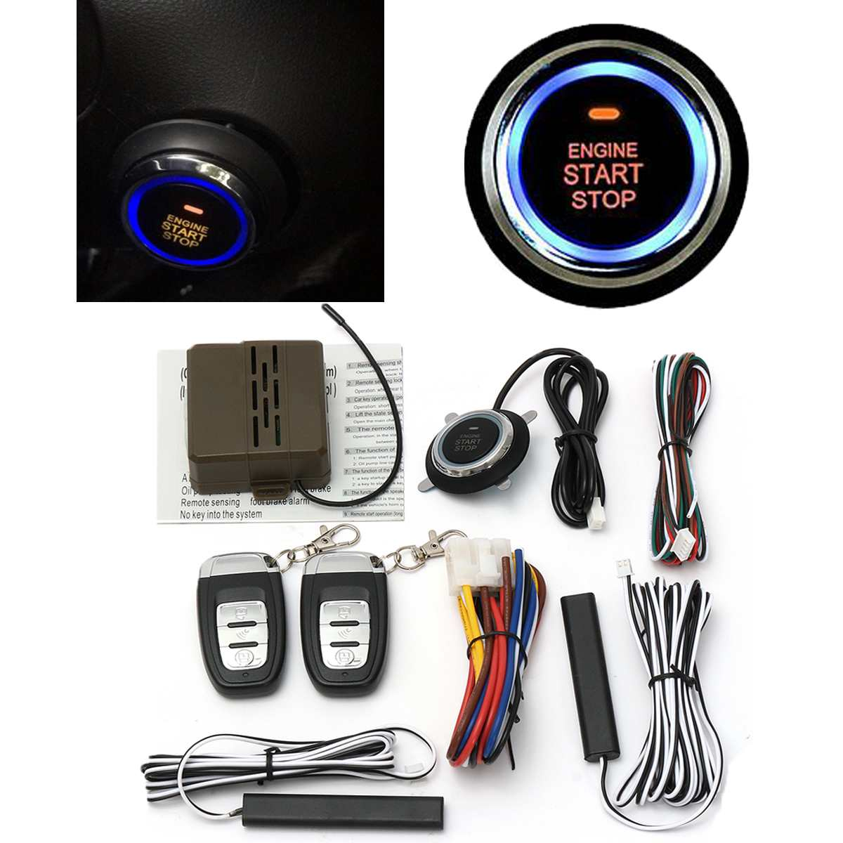 Audew Car Engine Start Stop SUV Keyless Entry Engine Start Alarm System Push Button Remote Starter Stop Auto Car Accessories