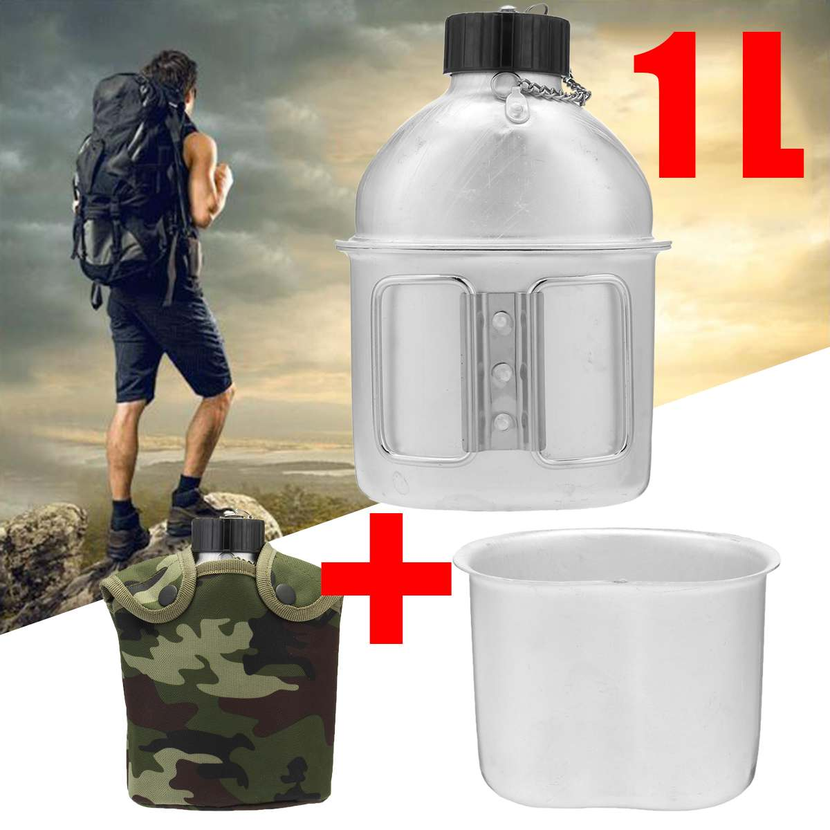 1L Military Canteen Field Military Kettle Camping Outdoor Army Water Bottle With Nylon Cover Survival Kettle Tableware Lunch Box